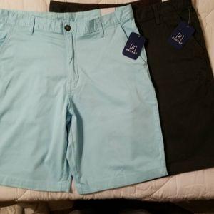 (2) flat front shorts